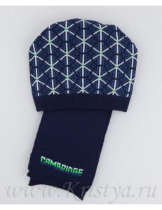 """Комплект демисезонный шапка с шарфом темно-синего цвета """"КЕМБРИДЖ"""""""