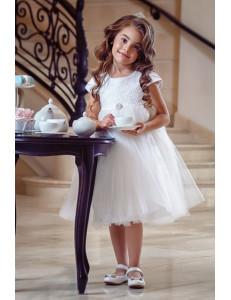 """Платье нарядное молочного цвета с жаккардовым верхом """"Леди"""""""